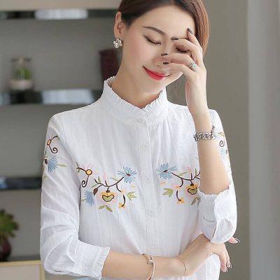 俏依惠2020新款韓版長袖襯衫女裝木耳領上衣繡花白色OL職業襯衣