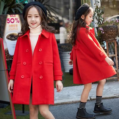 女童呢子大衣儿童毛呢外套2019新款韩版洋气中长款加厚女学生外套威珺