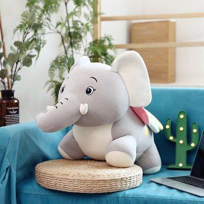 可愛大象毛絨玩具抱枕公仔玩偶女孩布娃娃兒童長條卡通男孩小枕頭 YG-灰色小飛象 22厘米