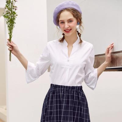 【3件1.5折价:29.9】美特斯邦威衬衫女夏季新款休闲珍珠细节剪刀领衬衫商场款