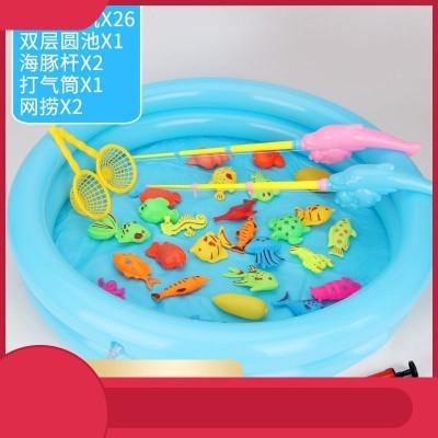 磁石鉤魚水里釣魚玩具小魚充氣池支持內置釣魚竿數字兒童約魚玩吸