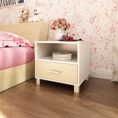 慧樂家 邊桌茶幾 漫雅帶抽床頭柜 儲物邊幾 白色+白楓木色 FNAK-11342