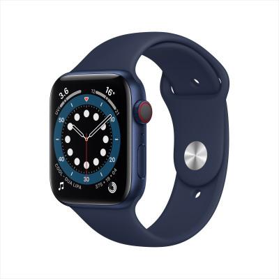 Apple Watch Series 6 44毫米 (GPS+蜂窩版 藍色鋁金屬表殼 深海軍藍色運動型表帶)