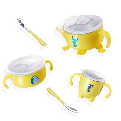 纽因贝儿童餐具 婴儿注水保温316不锈钢碗勺套装 宝宝吸盘辅食吃饭碗 五件套