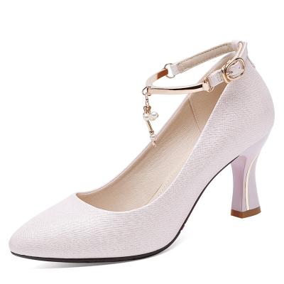 萊卡金頓LAIKAJINDUN高跟鞋女粗跟春季百搭網紅女款鞋仙女風氣質尖頭淺口單鞋6667