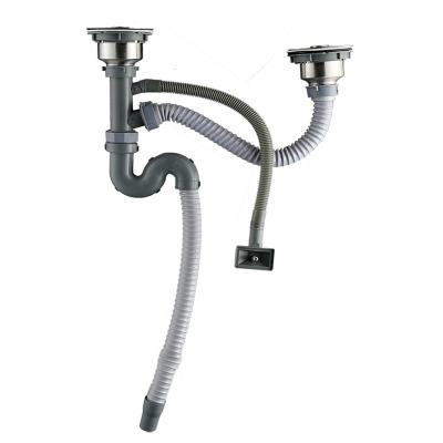洁冠 洗菜盆下水管配件 厨房水槽洗碗池排水管双菜盆单双槽下水器套装