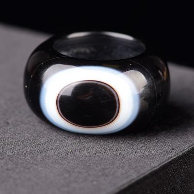 天然天眼玛瑙扳指男士文玩戒指玉石天眼石缠丝玛瑙眼睛男生首饰品