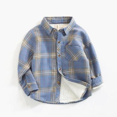 男童加绒打底衫秋冬款儿童洋气格子衬衫男宝宝保暖开衫外套上衣潮