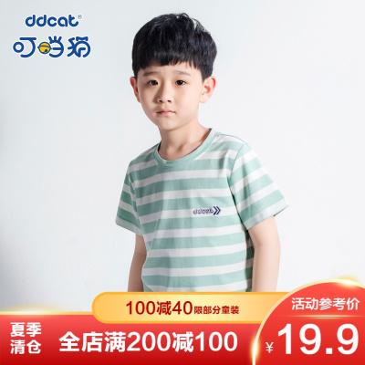 【季末清倉】叮當貓童裝夏裝新款短袖中大童T恤洋氣條紋舒適針織圓領衫