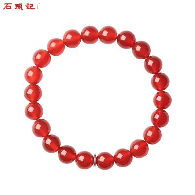 石頭記紅瑪瑙手鏈男女首飾情侶飾品屬新年好運佛珠圓珠手串手珠