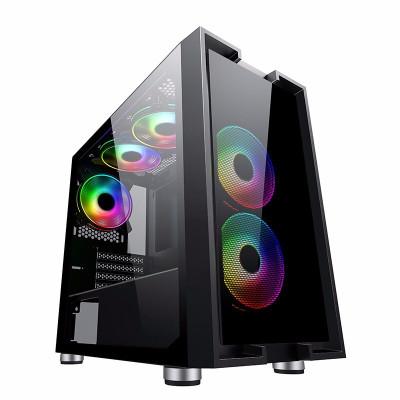 先馬(SAMA)平頭哥M5 游戲電腦小機箱 前板玻璃/鋼化玻璃側透/支持M-ATX主板/U3/背線/電源倉