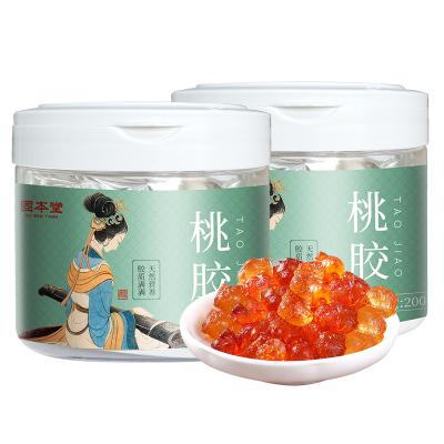 買一發二固本堂桃膠200g罐裝組合裝食用桃花淚可搭配雪蓮子皂角米雪燕