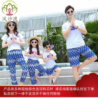 网红不一样的亲子装夏装度假潮母女装洋气一家三四口图片件数为展示