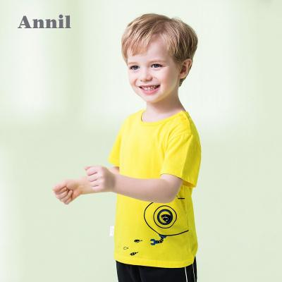 安奈儿童装男小童潮酷圆领短袖t恤夏装新款