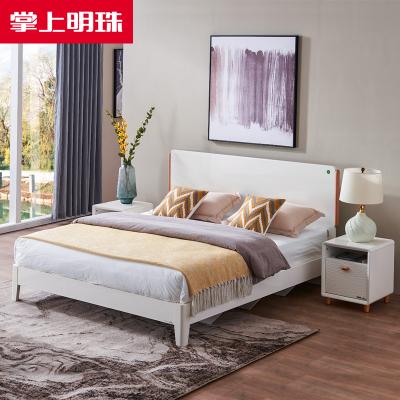 掌上明珠家居白色亮光烤漆床卧室1.5/1.8m板木大床床头柜高箱储物