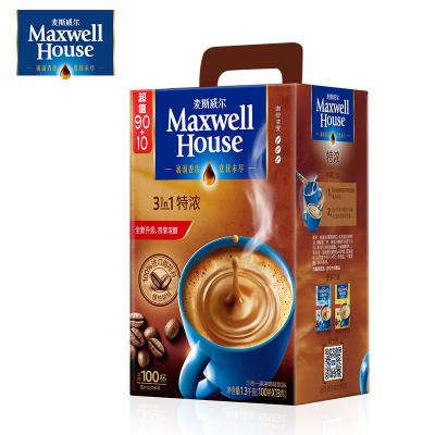 官方授权麦斯威尔咖啡特浓咖啡口味三合一即溶速溶咖啡粉100条1300g礼盒装