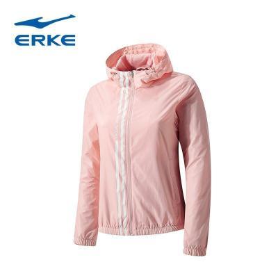 鴻星爾克女防風防水運動上衣休閑舒適簡約拉鏈外套