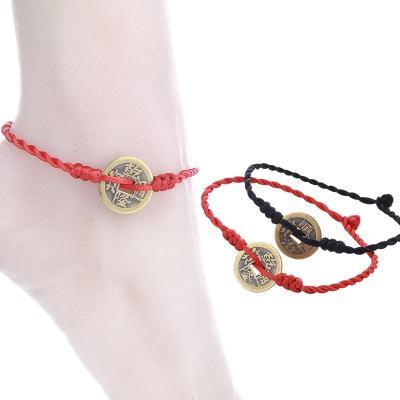 【新品特惠】幸運紅繩銅錢腳鏈本命年手工編織腳繩學生男女情侶辟邪腳飾品