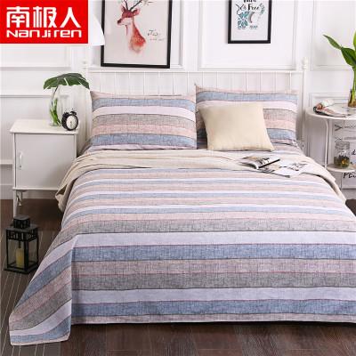 南极人(NanJiren)家纺 纯棉老粗布床单单件全棉老粗布床单三件套 床上用品1.5m床1.8米床条纹/格子床罩三件套
