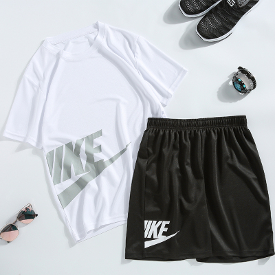邁得喜MAIDEXI 夏季潮流休閑跑步運動套裝男速干服 薄款寬松大碼短袖T恤短褲兩件套