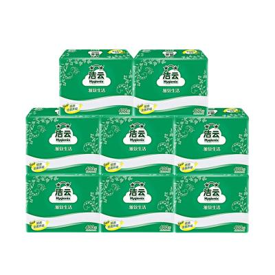 潔云 平板紙 柔韌壓花方包衛生紙 400張8包組合裝 廁紙草紙手紙