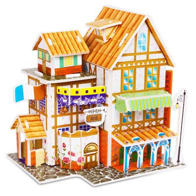 卓譽 兒童益智 3d立體拼圖 紙質玩具多款房屋建筑模型 法國旅館3歲以上200立體紙模