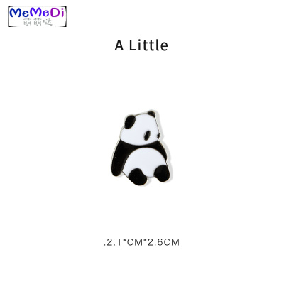 A Littl熊貓胸針可系通別針男女金屬徽章學生包包服裝飾