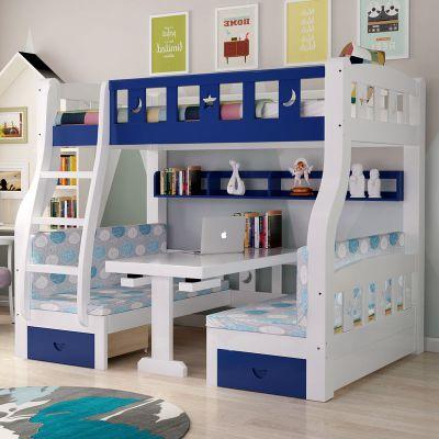 兒童公主床上下帶滑梯實木上下床帶書桌兒童滑梯高低床上下鋪木床雙層床上床下桌母子床