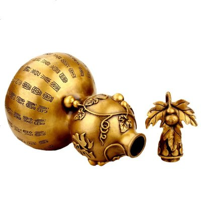 夢玉盈 純銅萬福葫蘆銅器擺件開蓋 平安大小號福字銅葫蘆臥室風水 自用送人民族風