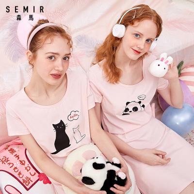 【2件3折】森馬女士T恤睡衣裙裝春夏趣味卡通A字圓領寬松可外穿家居服睡裙