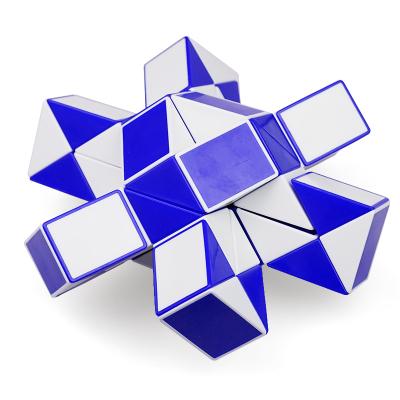 圣手7130A-48 四十八段魔尺 彈力48段魔蛇玩具百變魔尺魔方兒童益智玩具早教減壓解壓玩具 藍白