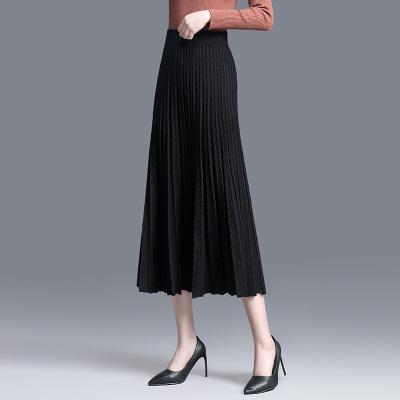 絲柏舍2019秋時尚純色高腰修身百褶中長款半身裙S93T4373B