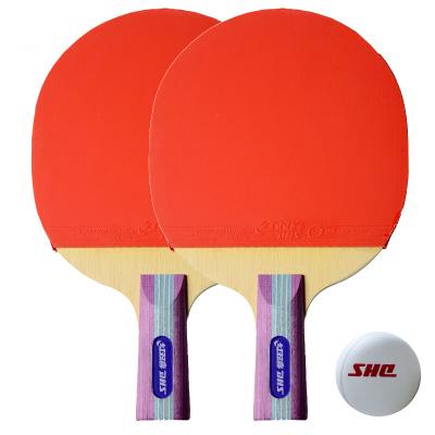 红双喜/DHS套装乒乓板SH-7(两只装)直拍红双喜乒乓球拍双面长反胶双拍直拍(短柄)