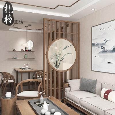 中式屏风隔断装饰客厅禅意栅栏家用卧室遮挡玄关实木入户挡煞座屏