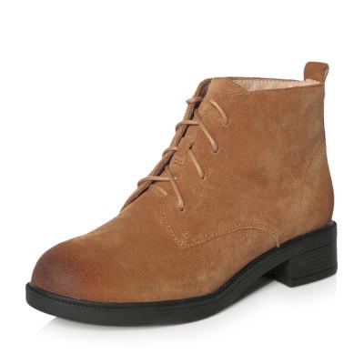 Teenmix/天美意冬專柜同款棕色牛剖層皮舒適方跟女短靴(絨里)AP881DD7