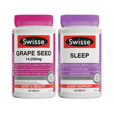 2件装|Swisse进口葡萄籽180粒+睡眠改善片100片