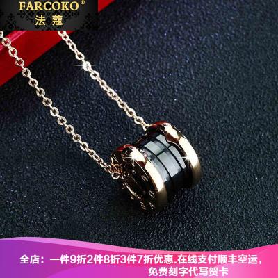 法蔻輕奢品牌項鏈男女款情侶LOVE鈦鋼彈簧陶瓷鎖骨鏈韓國時尚鍍彩金送女友