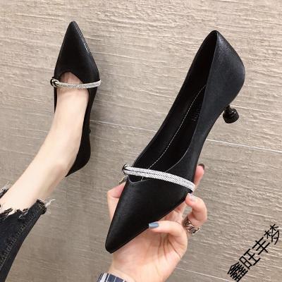 尖頭高跟鞋女細跟2020年秋季新款百搭法式小清新矮跟淺口貓跟單鞋
