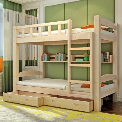 實木多功能子母床兒童房上下床兒童雙層床學生成人子母高低木床 單配書架一個(不含床) 1200mm*1900mm只有高低床