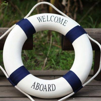 新款救生圈地中海风格泡沫圈装饰圈游泳圈成人加厚儿童专业定制 蓝白小号52cm