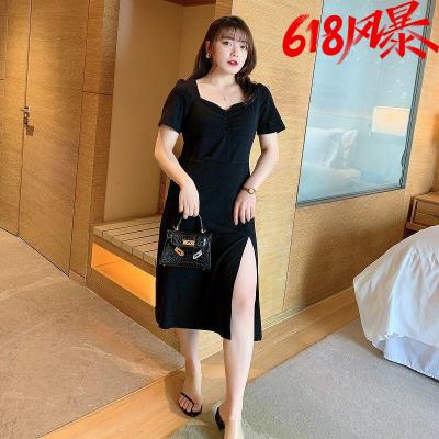 大碼自制2020夏新款黑色T恤裙胖MM韓版開叉性感黑色連衣裙 暖青匯