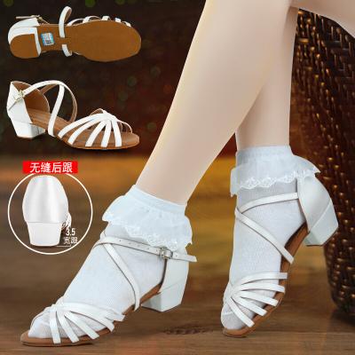 因樂思(YINLESI)女童拉丁舞鞋比賽白色女孩兒童女中跟舞蹈軟底少兒初學者演出