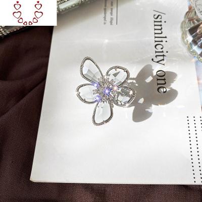 鑲鉆水晶冰花戒指歐美風氣質開口可調節指環創意高級感女尾戒 Chunmi水晶戒指
