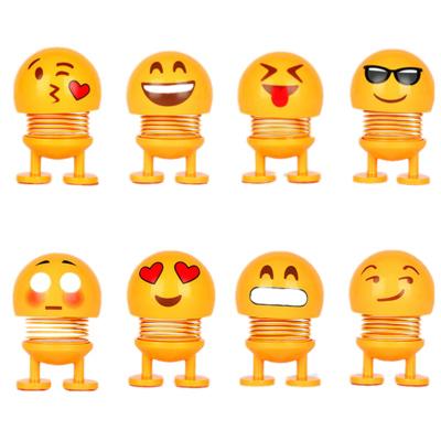 TAOERJ/淘尔杰【4个装】表情包摇头公仔 抖音同款 新品汽车摆件 可爱个性小黄笑脸弹簧仔-随机不同款