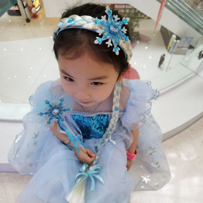 冰雪奇緣假發辮子公主發箍兒童皇冠艾莎女王頭飾女童愛莎頭箍發飾