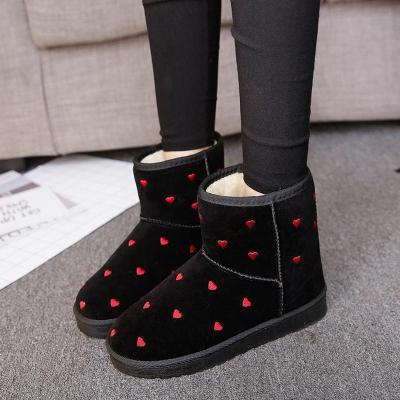 冬季韓版雪地靴女短筒加厚防滑學生鞋加絨保暖棉鞋愛心加絨平底靴