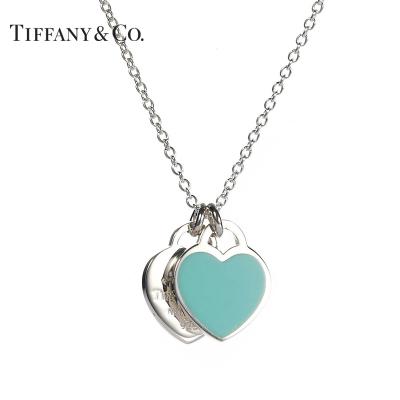 Tiffany&Co.:蒂芙尼925银经典款蓝色珐琅双心项链