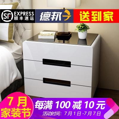 簡易床頭柜子白色烤漆迷你簡約現代臥室儲物柜矮斗柜大小床邊柜組裝床邊柜收納柜抖音多功能床頭桌