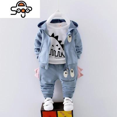 小童装0宝宝春装男装1-4岁儿童大恐龙衣服二周半小男孩2三件套装3_3