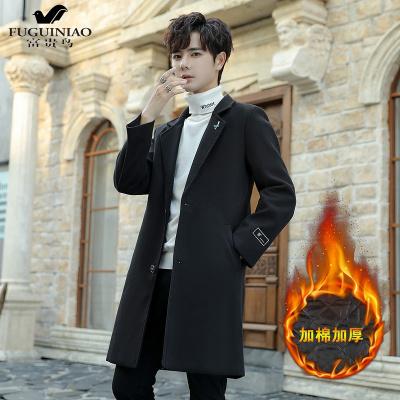 富贵鸟(FUGUINIAO)男士毛呢大衣韩版潮流英伦青年帅气修身外套英伦呢子中长款风衣男